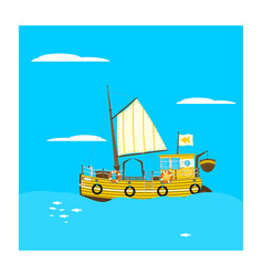 cartoon fishing boat vector image