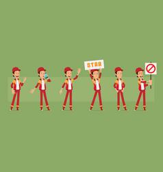 cartoon funny sportsman character big set vector image