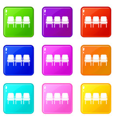 Chairs in departure hall set 9 vector