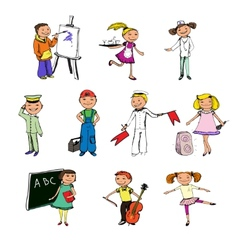 Children professions characters vector image