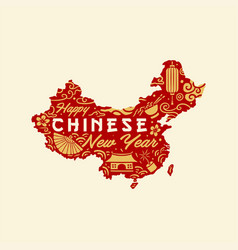 Chinese new year maps design vector