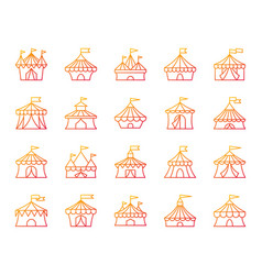 Circus tent simple color line icons set vector