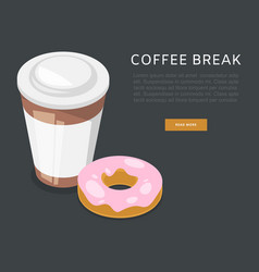 coffee break or breakfast cartoon poster vector image