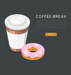 Coffee break or breakfast cartoon poster vector