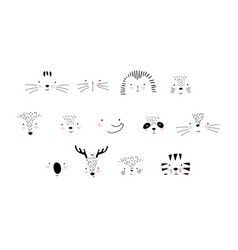 Collection cute animal faces details the vector