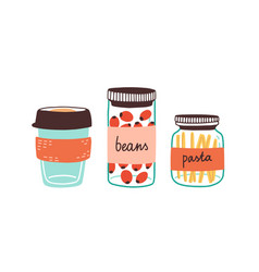 colorful set reusable containers with food vector image