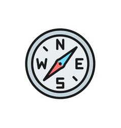 compass navigation flat color line icon vector image