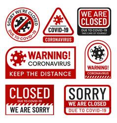 covid19 2019 danger signs set coronavirus labels vector image