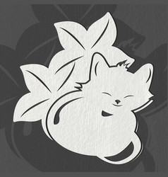 Cute cat sleeping in leaves vector