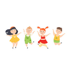 cute children happily jumping joyful boys and vector image