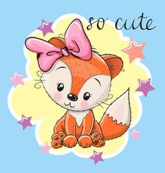 Cute fox girl on a blue background vector