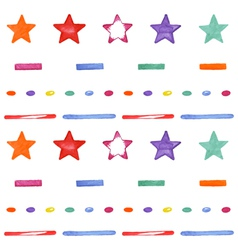 Cute seamless pattern with colored stars Happy vector image