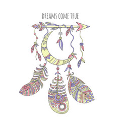 Dream catcher background ethnic tribal feathers vector