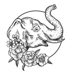 Elephant animal engraving vector
