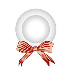 empty plate with a ribbon vector image