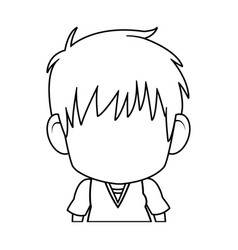 Faceless anime tennager hair style contour vector
