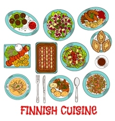 Finnish national cuisine dishes set vector image vector image
