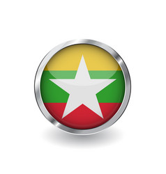 flag of myanmar button with metal frame and vector image
