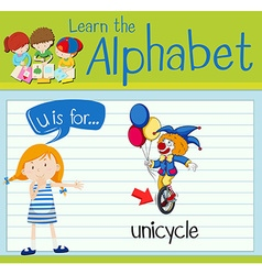 Flashcard letter u is for unicycle vector