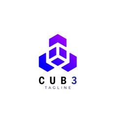 Geometric technology cube logo design template vector
