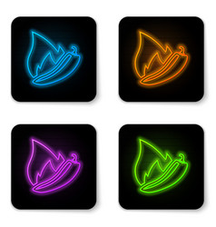 glowing neon hot chili pepper pod icon isolated vector image