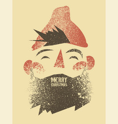 grunge christmas card with cartoon bearded man vector image