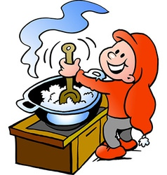 Hand-drawn of an happy christmas elf cooking food vector