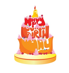 Happy Birthday Text Cake vector