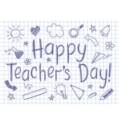 Happy teachers day greeting card copybook sheet vector