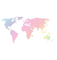 hatched map of world in rainbow spectrum colors vector image