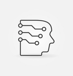 Head with a brain as circuit board icon in vector