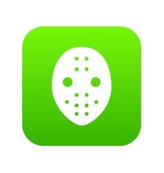 Hockey goalkeeper helmet icon green vector