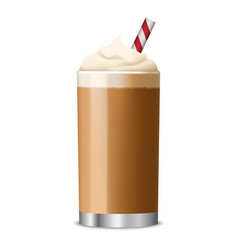 ice coffee glass icon realistic style vector image
