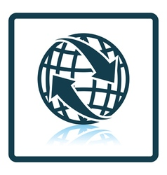 Icon of Globe with arrows vector