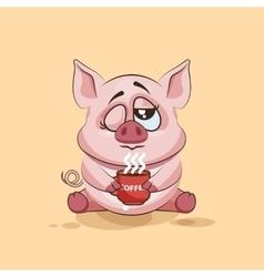 isolated Emoji character cartoon Pig just woke up vector image