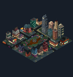 isometric design of city streets and buildings at vector image