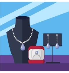 Jewelry Store Concept in Flat Design vector