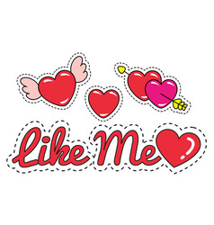like me patches and stickers hearts inscription vector image