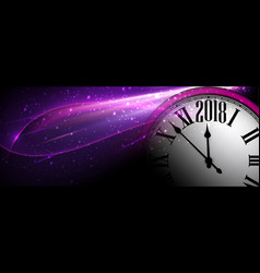 Lilac 2018 new year clock banner vector