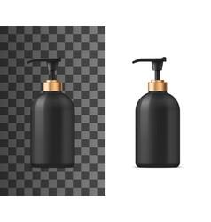 Liquid soap realistic black bottle vector