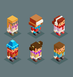 lowpoly children winter clothes isometric boys vector image