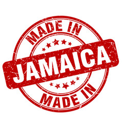Made in jamaica red grunge round stamp vector