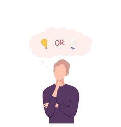 man trying to make decision incandescent or vector image