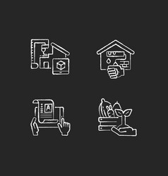 manual work chalk white icons set on black vector image