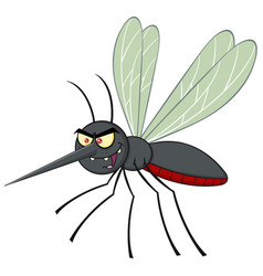 Mosquito cartoon character flying vector
