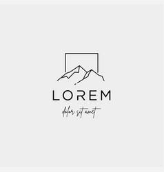 Mountain logo line design landscape symbol vector