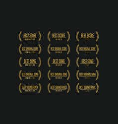Movie award nomination winner icon set vector
