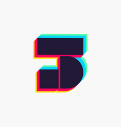 Number three logo with stereo effect vector