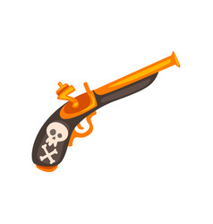 old flintlock pistol ancient weapon vector image