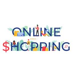 online shopping word cartoon vector image